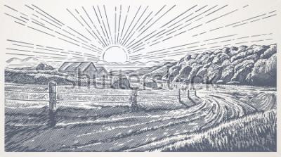 Canvastavlor Rural landscape with village in engraving style. Vector Illustration.