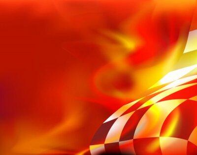 Canvastavlor rutig flagga bakgrund och röda flammor