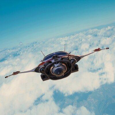 Canvastavlor rymdskepp på blå himmel