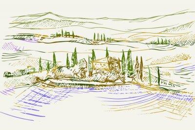 Canvastavlor Rysynek ręcznie rysowany. Toskański pejzaż z okolic Sieny we Włoszech w Europie