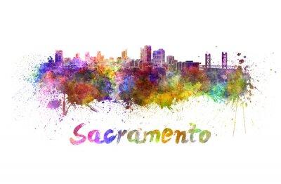 Canvastavlor Sacramento skyline i vattenfärg