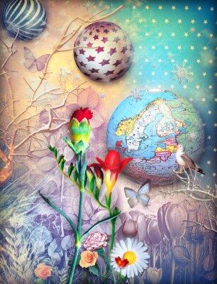 Canvastavlor Sagor bakgrund med fleld av färgade blommor