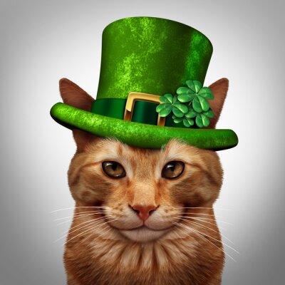 Canvastavlor Saint Patricks Day Cat