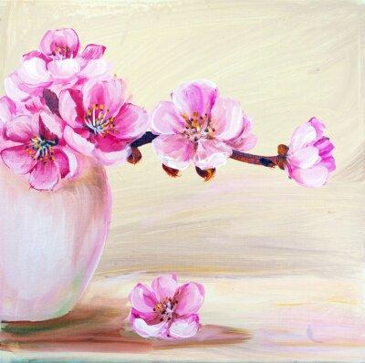 Canvastavlor Sakura blommor i vas