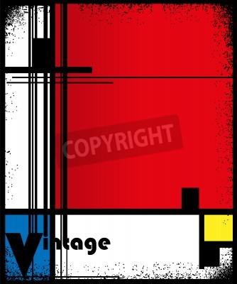 Canvastavlor Sammanfattning bakgrund i stil med en cubism, rött, blått, gult torg