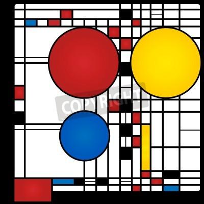 Canvastavlor Sammanfattning bakgrund i stil med en cubism, rött, blått, gult torg och rundor