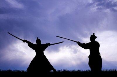 Canvastavlor samurai silhuett