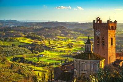 Canvastavlor San Miniato klocktorn av katedralen. Pisa, Toscana Italien Europa.