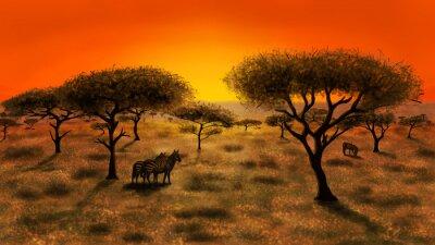 Canvastavlor Savannah på solnedgången