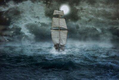 Canvastavlor Schiff, Meer, Ozean, Blau, Wolken, Wasser, Segel, Sturm