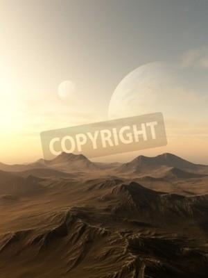 Canvastavlor Science fiction illustration av planeter stiger över horisonten av en öde främmande värld, 3d framförs digitalt illustration