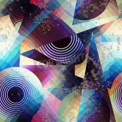 Canvastavlor Seamless bakgrundsmönster. Abstrakt geometriskt mönster i kubismen stil.
