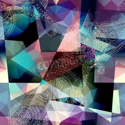 Canvastavlor Seamless bakgrundsmönster. Imitation av kubismen utformar målning.