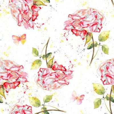 Canvastavlor Seamless bakgrundsmönster med vattenfärg rosor, stänk och fjärilar
