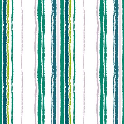 Canvastavlor Seamless band mönster. Vertikala linjer med sönderrivet papper effekt. Strimla kant bakgrund. Kontrast ljus och mörk grå, oliv, gröna färger på vit. Vektor