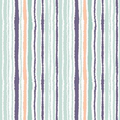 Canvastavlor Seamless band mönster. Vertikala linjer med sönderrivet papper effekt. Strimla kant bakgrund. Ljus och mörk grå, oliv, turkos färger på vitt. Vektor