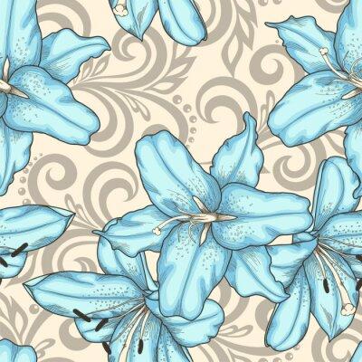 Canvastavlor Seamless blå liljor blommor och abstrakta blommigt virvlar runt