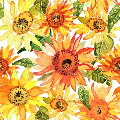 Canvastavlor Seamless blom- modell med solrosor dragna vattenfärg.