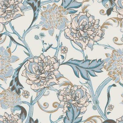 Canvastavlor Seamless blommande pion