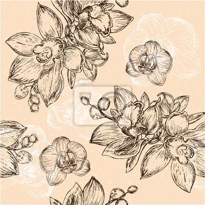 Canvastavlor Seamless blommönster med orkidé