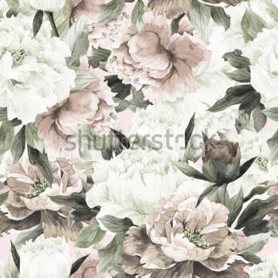 Canvastavlor Seamless blommönster med rosor på ljus bakgrund, akvarell.