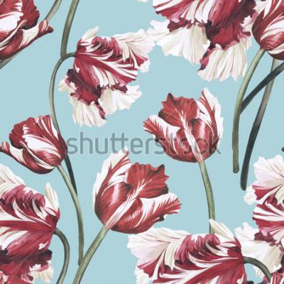 Canvastavlor Seamless blommönster med tulpaner, akvarell