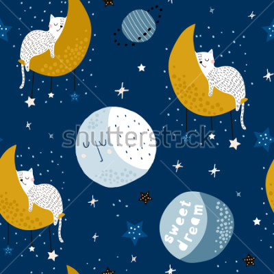 Canvastavlor Seamless childish pattern with cats on moons and starry sky. Creative kids texture for fabric, wrapping, textile, wallpaper, apparel. Vector illustration