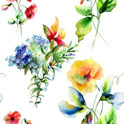 Canvastavlor Seamless dekorativa sommarblommor
