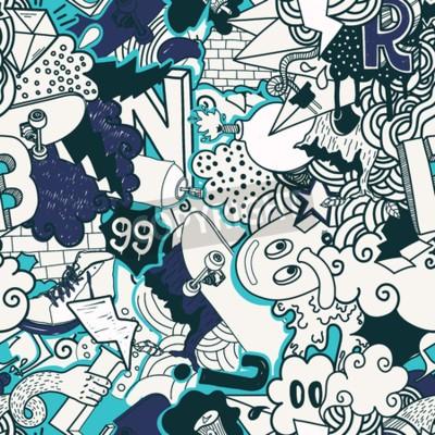 Canvastavlor Seamless färgrik modell. Graffiti klotter gatukonst illustration i blå färger. Sammansättning bisarra element och tecken för skate board, gata kläder, streetwear, bakgrundstextilmaterial