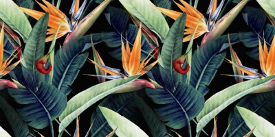 Canvastavlor Seamless floral pattern with tropical leaves and strelitzia on red background. Template design for textiles, interior, clothes, wallpaper. Watercolor illustration