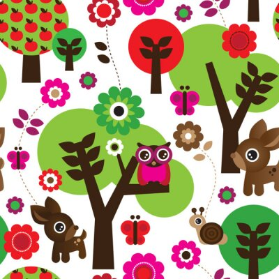 Canvastavlor Seamless gård uggla träd djur mönster i vektorn