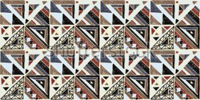Canvastavlor Seamless geometrisk afrikanskt mönster. Etnisk prydnad på mattan. Aztec stil. Tribal etnisk vektor textur. Broderi på tyg. Indiska, mexikanska, folkmönster. Quiltning, lapptäcke, jacquard.
