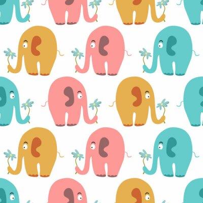 Canvastavlor Seamless gulliga färgrika djur