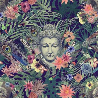 Canvastavlor Seamless handgjord akvarellmönster med buddhahuvud, maharajah, blommor, fjädrar, handflator.