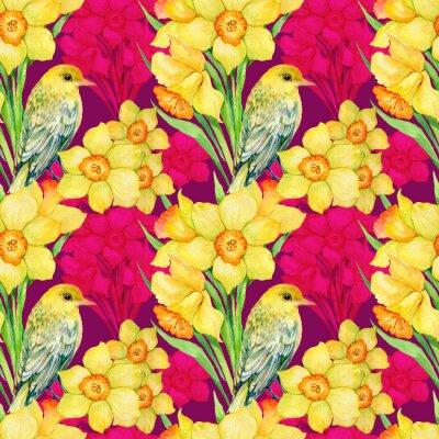 Canvastavlor Seamless .Illustration vattenfärg, blommor, blommor, Narcissus och fågel Oriole