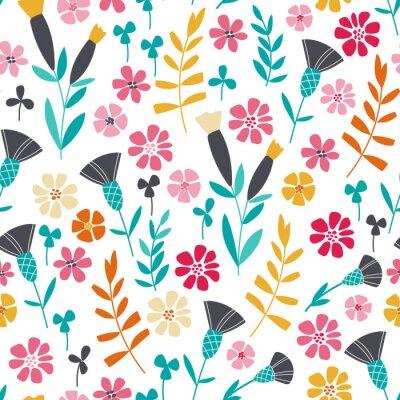 Canvastavlor Seamless ljusa skandinaviska blommiga mönster