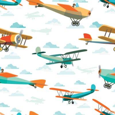Canvastavlor Seamless mönster från Retro Flygplan