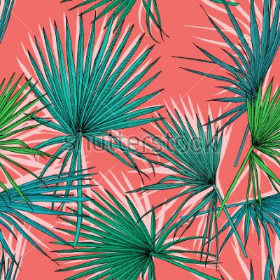 Canvastavlor Seamless mönster med bilden av en grön fläkt palm löv på en koral bakgrund. Vektor illustration.