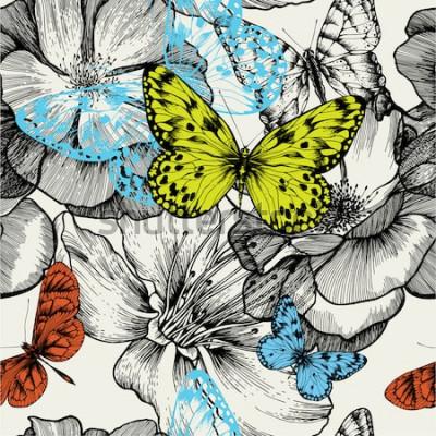 Canvastavlor Seamless mönster med blommande rosor och flygande fjärilar, handritning. Vektorillustration.