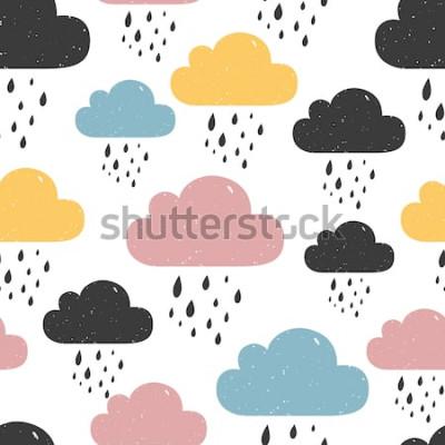 Canvastavlor Seamless mönster med färgade regniga moln. Vektorillustration