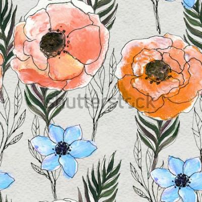 Canvastavlor Seamless mönster med färgglada blommor