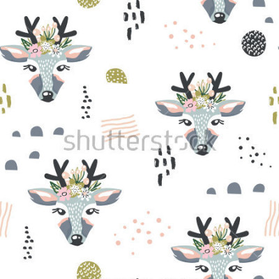 Canvastavlor Seamless mönster med hjortar, blommiga element, grenar. Kreativ skogsmark bakgrund. Perfekt för barnkläder, tyg, textilier, växtskola, inslagspapper. Vektillustration