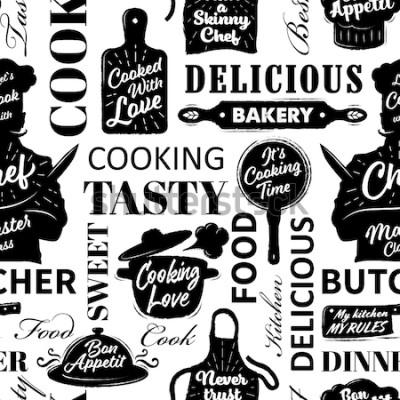 Canvastavlor Seamless mönster med matlagningsföremål. Vektorillustration
