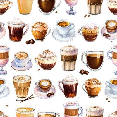 Canvastavlor Seamless mönster med olika kaffedrycker på vit bakgrund. Illustration av espresso, latte och americano, cappuccino och annat smakligt kaffe. Handritad av markörer, akvarell.