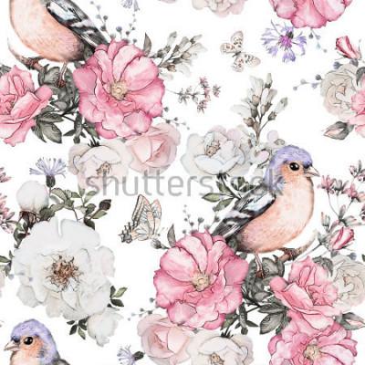 Canvastavlor Seamless mönster med rosa blommor, fågel - finch och löv på vit bakgrund, akvarell blommönster, blomma ros i pastellfärg, kakel till tapeter, vintage kort eller tyg