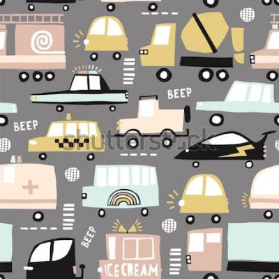 Canvastavlor Seamless mönster med söta bilar. Tecknade bilar, väggluckor, sebra som korsar vektorillustrationen. Perfekt för barnens tyg, textil, barnhem tapeter. Vektorillustration.