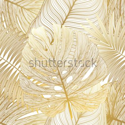 Canvastavlor Seamless mönster med tropisk löv palm. Vektor illustration.