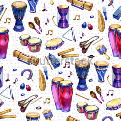 Canvastavlor Seamless mönster med trummor i akvarellstil på vit bakgrund. Slagverkinstrument. Färgglad design för retro-party i memphis-stil. illustration
