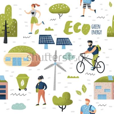 Canvastavlor Seamless Pattern med Green Town. Miljövård. Eco City Future Technologies för bevarande av planeten. Alternativ energi ekologi bakgrund. Vektor illustration