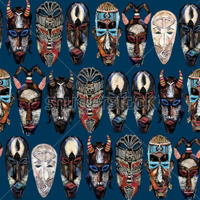 Canvastavlor seamless pattern with african mask. hand drawn ethnic tribal totem background
